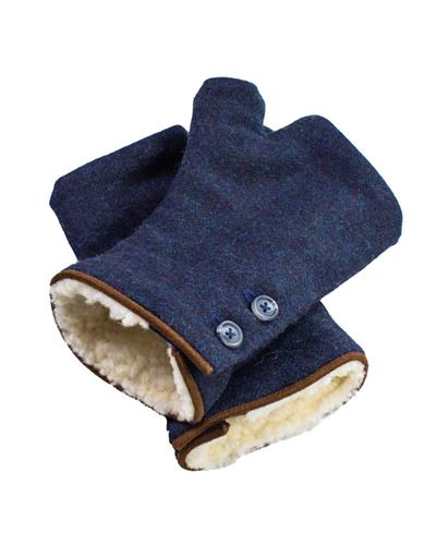 Blue Fingerless Tweed Mittens