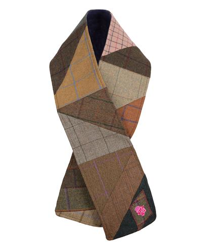 Patch Wrap Tweed Scarf