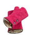 Pink fingerless tweed mittens