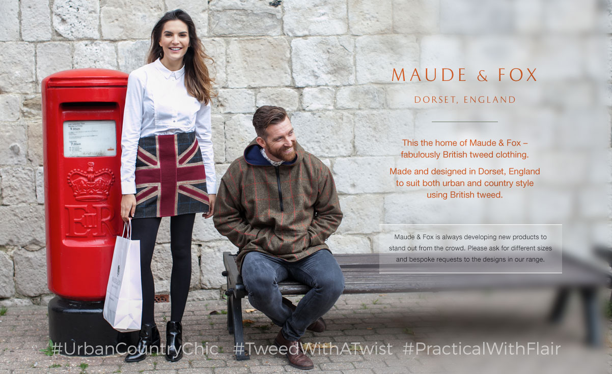 This the home of Maude & Fox – fabulously British tweed clothing.