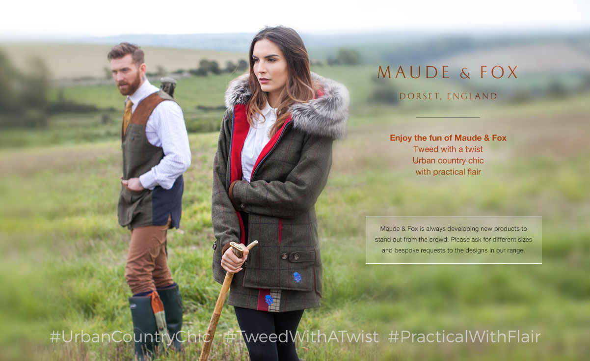 Enjoy the fun of Maude & FoxTweed with a twistUrban country chicwith practical flair.