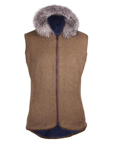 The 'Fluffy Brown ' fitted tweed gilet