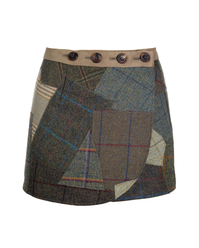 Tweed Patch Wrap Skirt